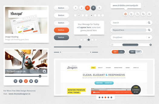 Free-Clean-And-Usable-UI-PSD-Kit