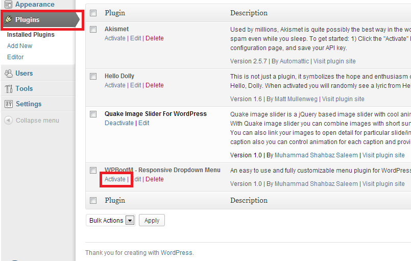 installing WordPress Plugin Step 1