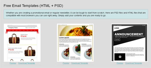 Free Email Templates (HTML+PSD Source Files)