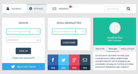 Beautiful Free Web User Interface Design Kit