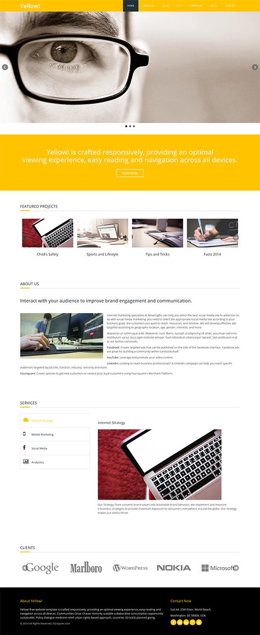 Responsive HTML5 Template Yellow