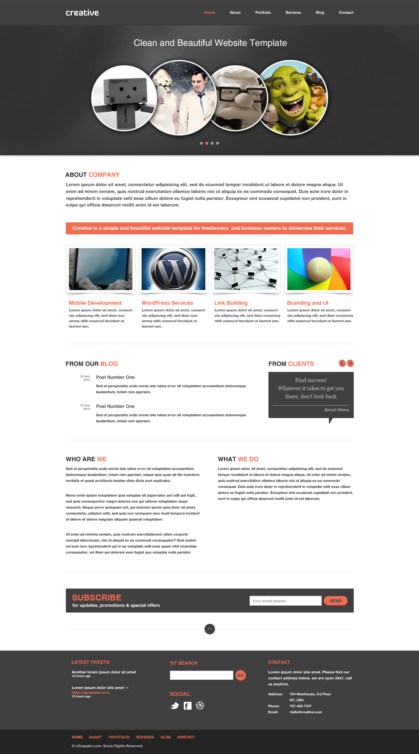 Free business portfolio website psd template creative free business and portfolio website psd template creative cheaphphosting Image collections
