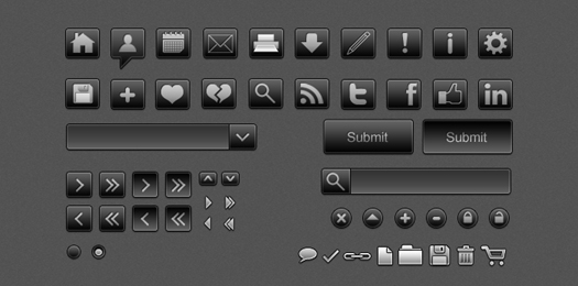 black and white psd vector icons
